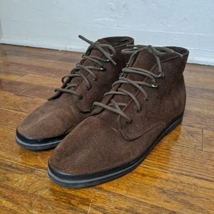 Brown high top leather keds